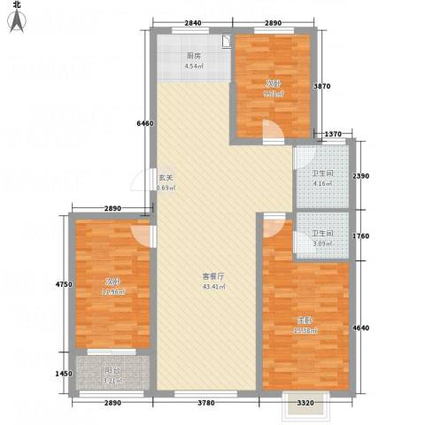 天缘新城3室1厅2卫0厨102.60㎡户型图