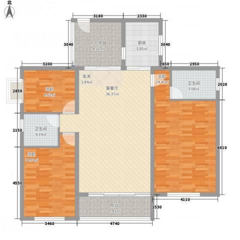 博筑正阳花园3室1厅2卫1厨160.00㎡户型图