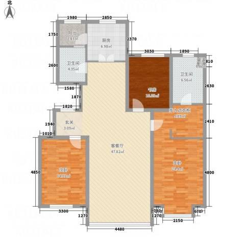 银亿家园3室1厅2卫1厨147.00㎡户型图