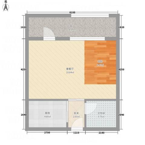 德文公寓1厅1卫1厨58.00㎡户型图