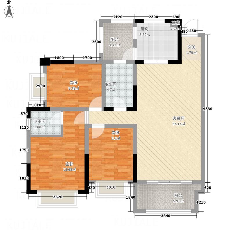 鸿锦茗城112.27㎡B3户型3室2厅2卫1厨