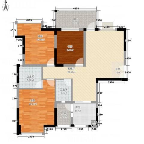 凯丽景湖三期3室1厅2卫1厨113.00㎡户型图
