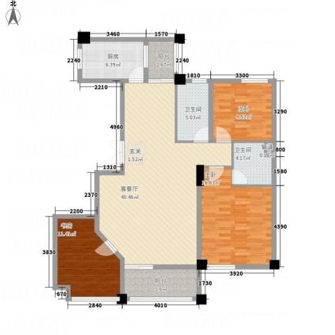 佳境天城三期3室1厅2卫1厨145.00㎡户型图