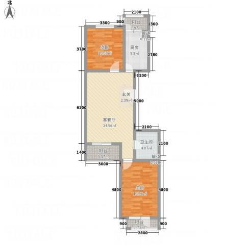 怡和国际花园2室1厅1卫1厨65.91㎡户型图