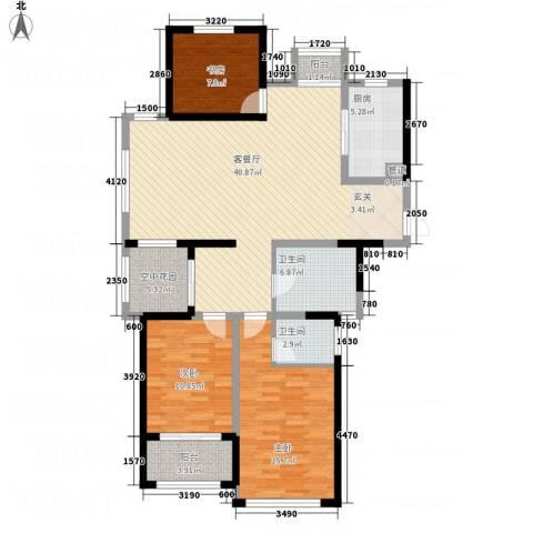 世纪华城3室1厅2卫1厨141.00㎡户型图