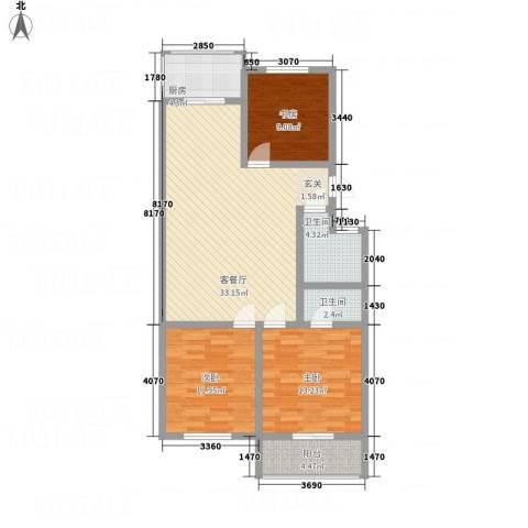涑水佳苑3室1厅2卫1厨82.91㎡户型图
