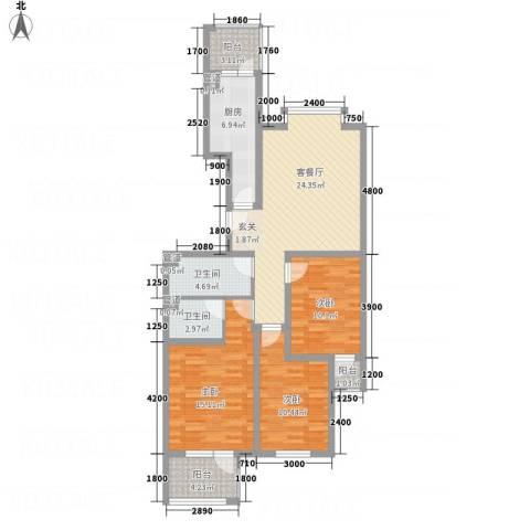 怡和国际花园3室1厅2卫1厨136.00㎡户型图