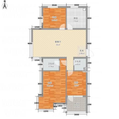 永康城市花园3室1厅2卫1厨124.00㎡户型图