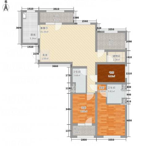 朗诗绿色街区3室1厅2卫1厨128.00㎡户型图