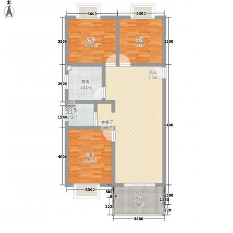 天瑞名城3室1厅1卫1厨76.83㎡户型图