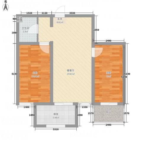 东泰・城市花园2室1厅1卫1厨68.20㎡户型图