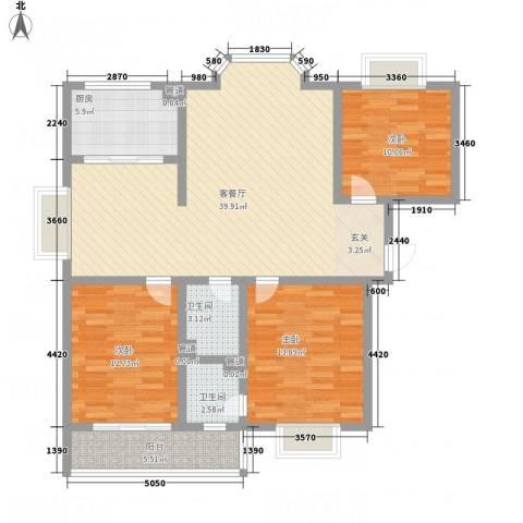 金鑫・杏林嘉园3室1厅2卫1厨136.00㎡户型图