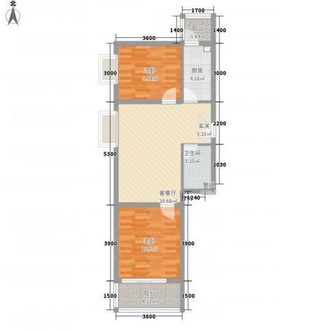 奥林第一城2室1厅1卫1厨85.00㎡户型图