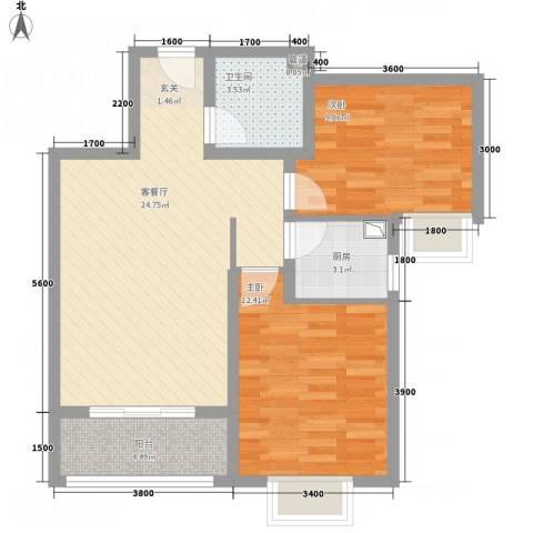 奥林第一城2室1厅1卫1厨84.00㎡户型图