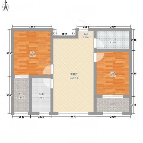 天缘新城2室1厅1卫1厨68.80㎡户型图