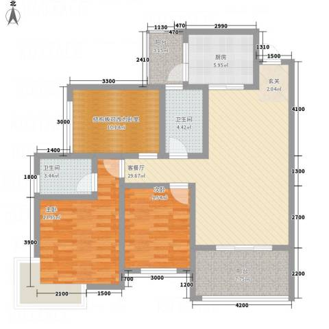 九鼎蓝波湾2室1厅2卫1厨88.02㎡户型图
