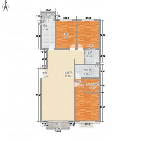 宏洋美都3室1厅2卫1厨159.00㎡户型图