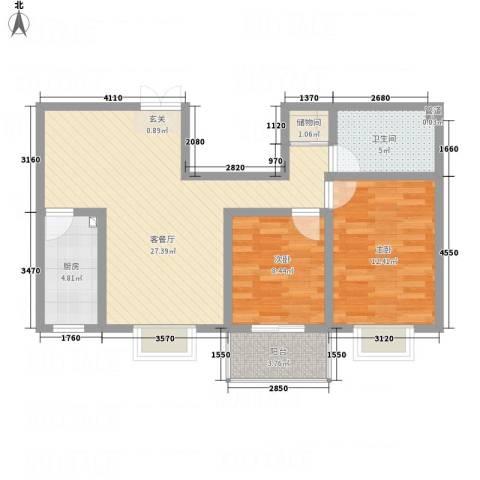 万和世家2室1厅1卫1厨62.92㎡户型图