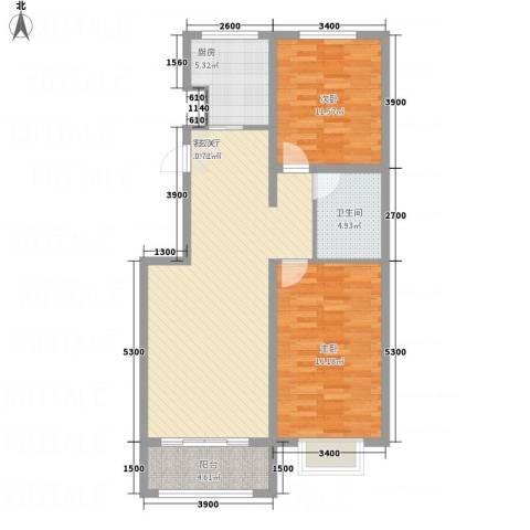 奥林第一城2室1厅1卫1厨104.00㎡户型图