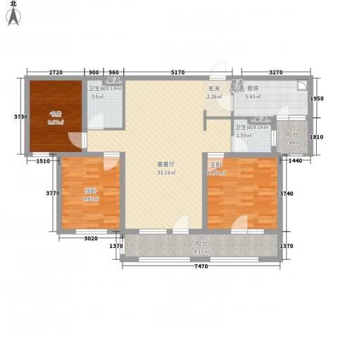 朗诗绿色街区3室1厅2卫1厨126.00㎡户型图