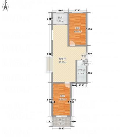东泰・城市花园2室1厅1卫1厨76.90㎡户型图