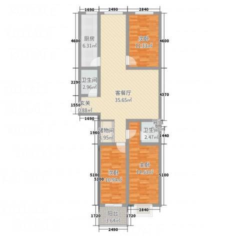 东泰・城市花园3室1厅2卫1厨103.90㎡户型图