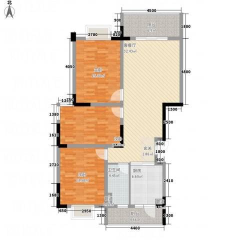 茶亭溪苑3室1厅1卫1厨128.00㎡户型图