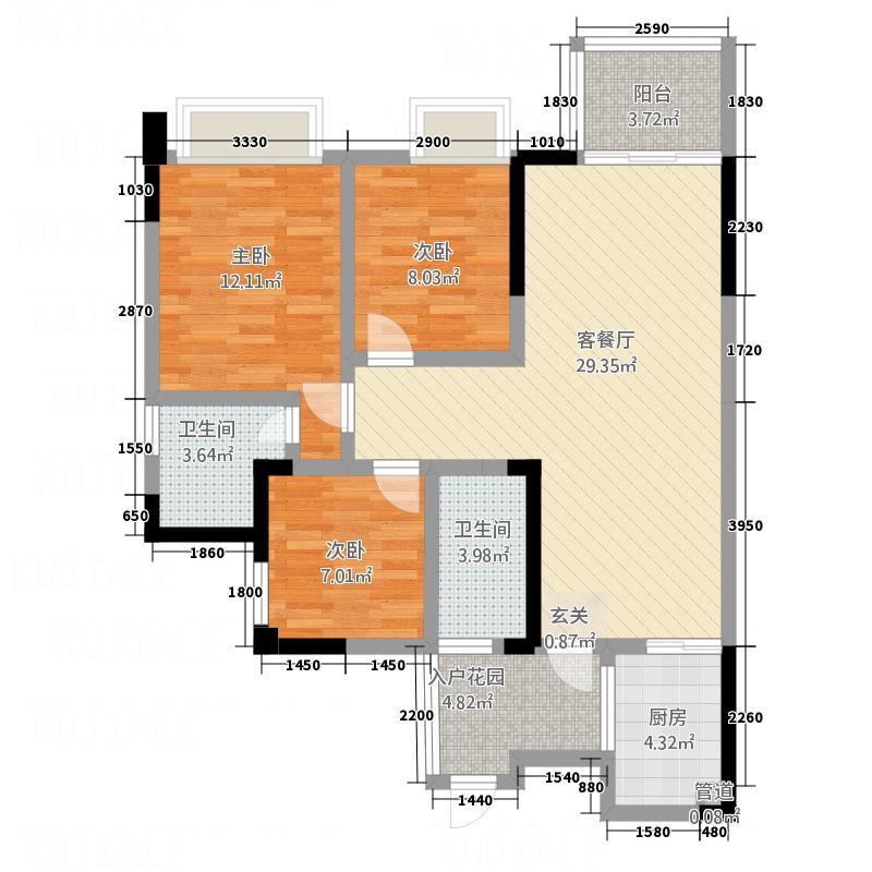 广安明发国际广场8.20㎡B1户型3室2厅2卫1厨