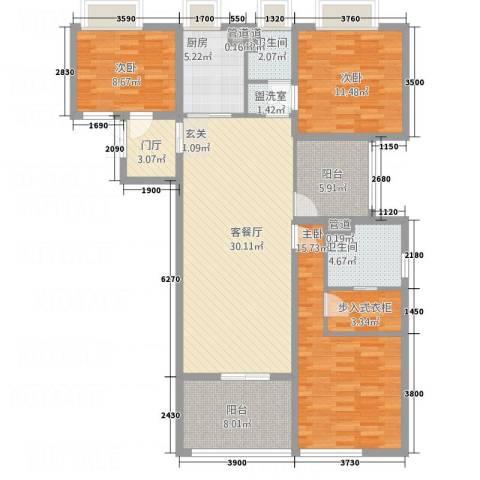 莱蒙时代3室2厅2卫1厨143.00㎡户型图
