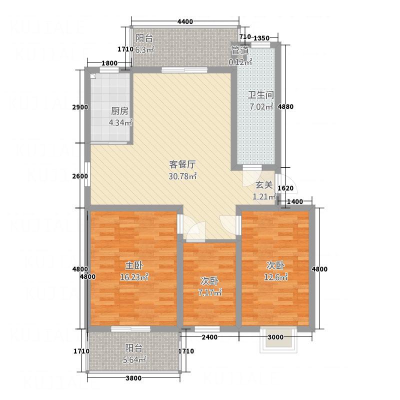 阳光庄园1.80㎡F型户型3室2厅1卫1厨
