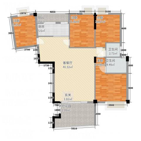 天乙华庭4室1厅2卫1厨163.00㎡户型图