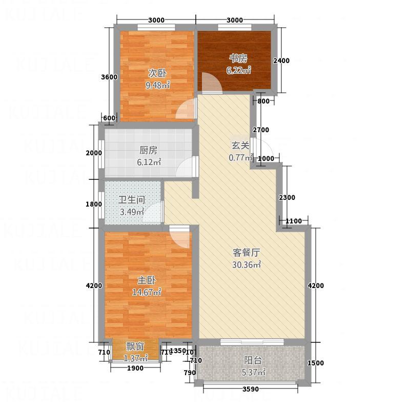 润峰・水岸名城8.00㎡H1户型3室2厅2卫1厨