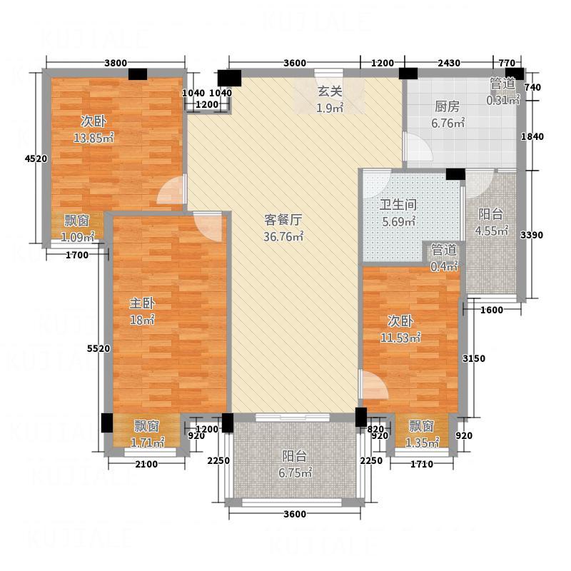 安阳碧桂园2.00㎡精装景观高层户型3室2厅1卫