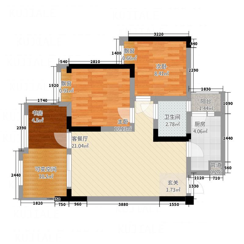 东福・金海岸1277.32㎡C-户型2室2厅1卫1厨