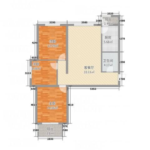 鑫鼎银河湾3室1厅1卫1厨118.00㎡户型图