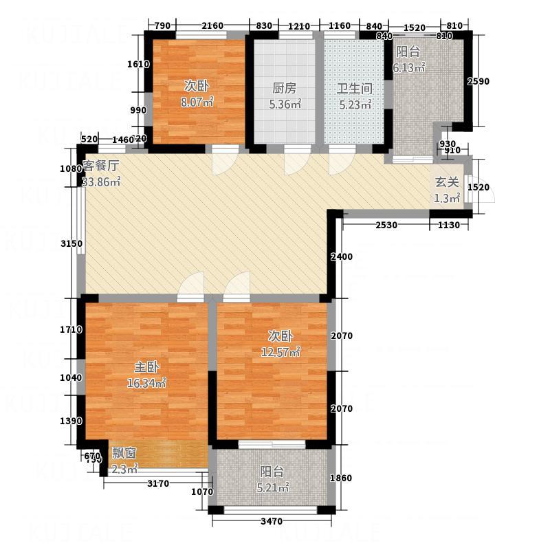 御河观唐D2户型3室2厅1卫1厨
