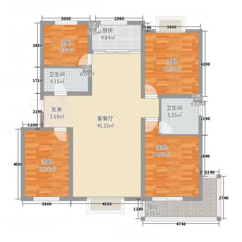 金鑫・盐湖城4室1厅2卫1厨123.47㎡户型图