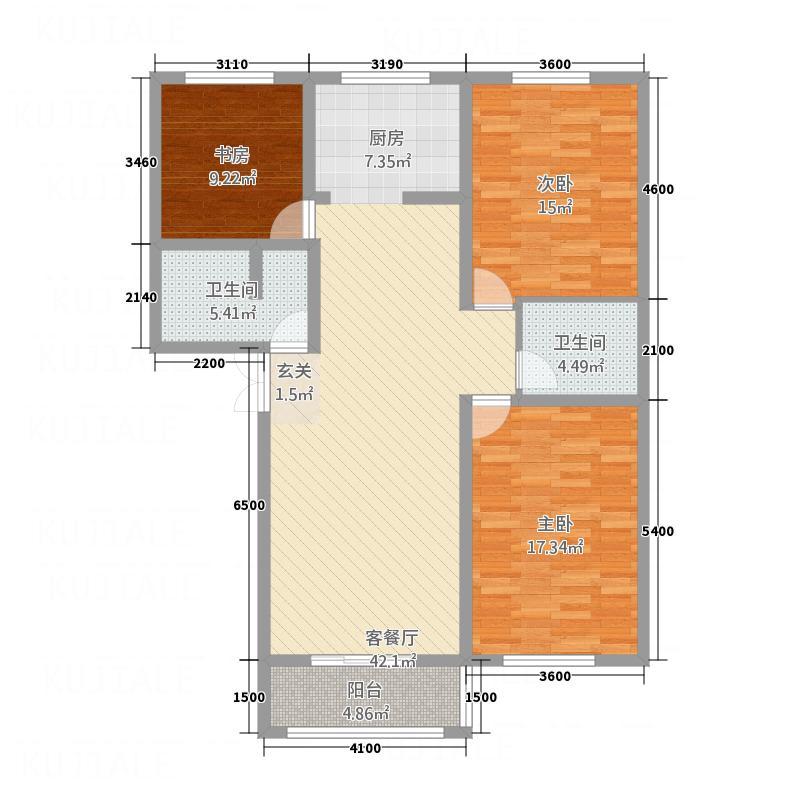 财富阳光4322144.00㎡户型3室2厅2卫1厨