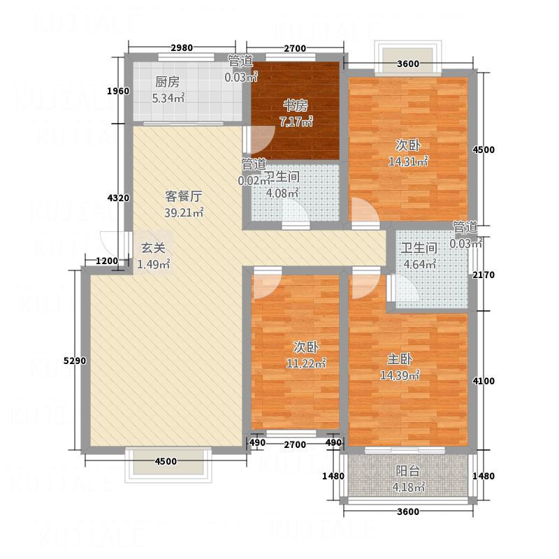 金鑫・盐湖城02户型4室2厅2卫1厨