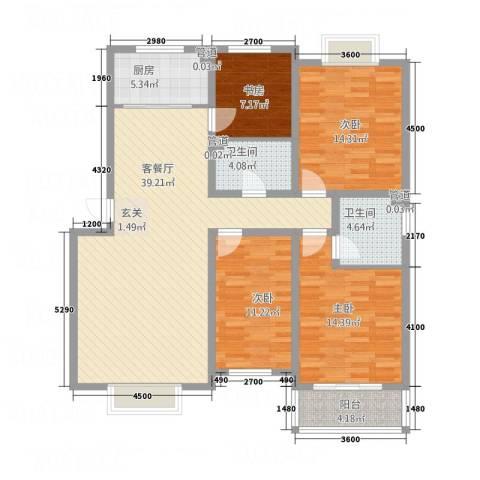 金鑫・盐湖城4室1厅2卫1厨119.70㎡户型图