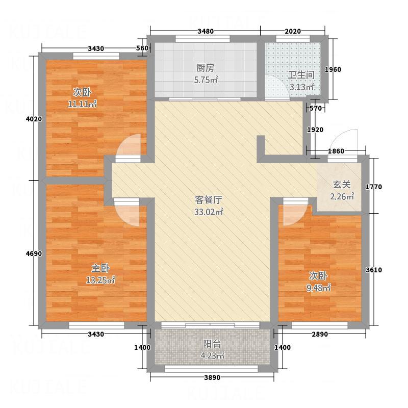 卡诺岛115.00㎡M1户型3室2厅1卫1厨