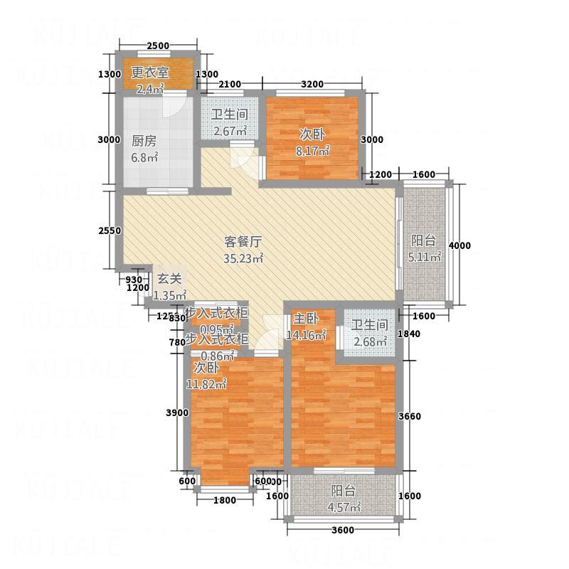 未来宜居133.00㎡E户型3室2厅2卫1厨