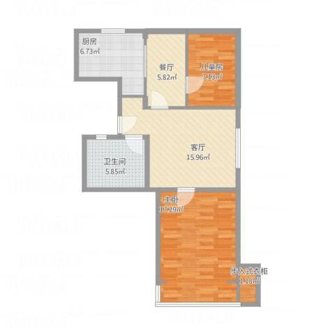 长海三村2室2厅1卫1厨85.00㎡户型图