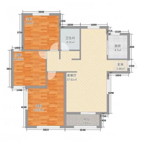 长安泰美御苑3室1厅1卫1厨127.00㎡户型图