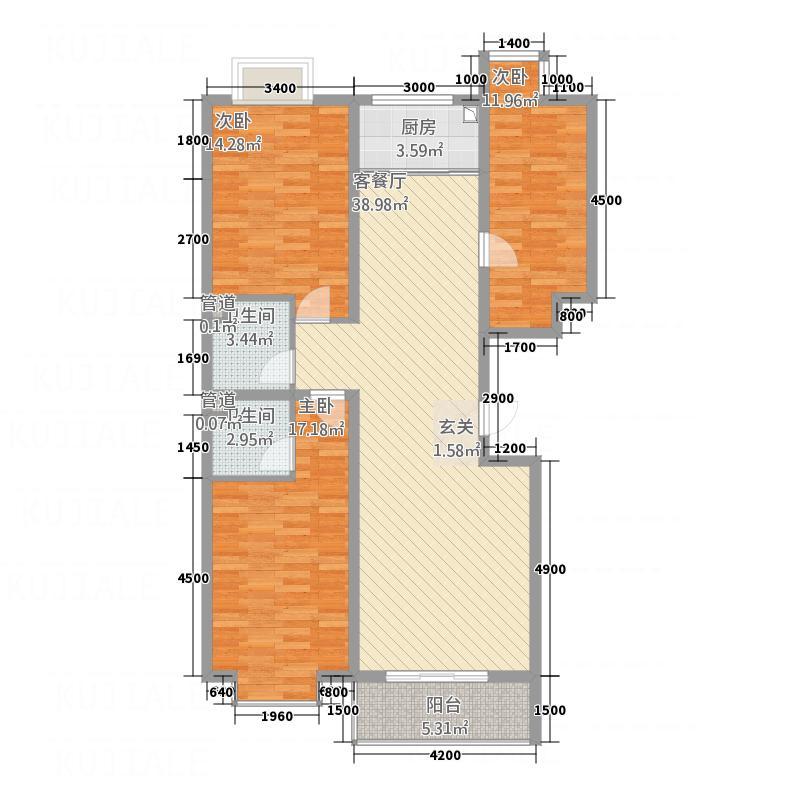 东润・公园壹号C户型3室2厅2卫1厨