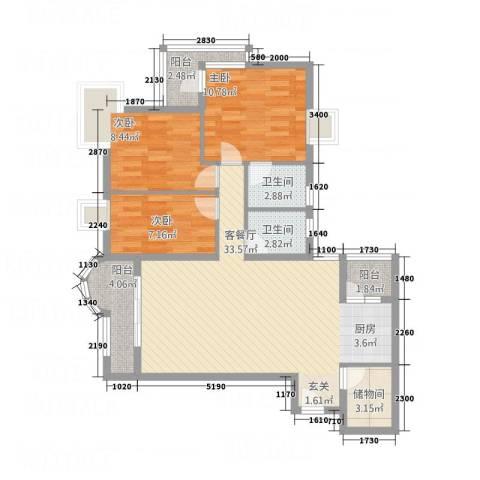 望海汇景苑3室1厅2卫0厨112.00㎡户型图