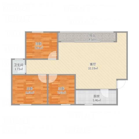金福广场77栋6023室1厅1卫1厨92.00㎡户型图