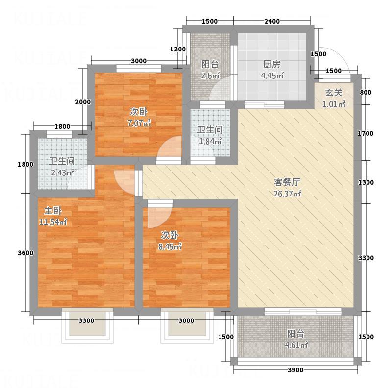 诺水明珠4.82㎡2号户型3室2厅2卫1厨
