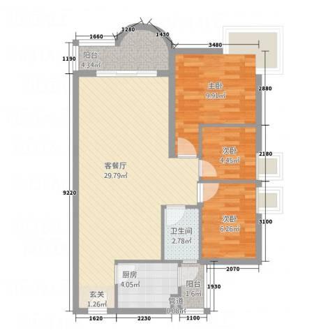 望海汇景苑3室1厅1卫1厨90.00㎡户型图