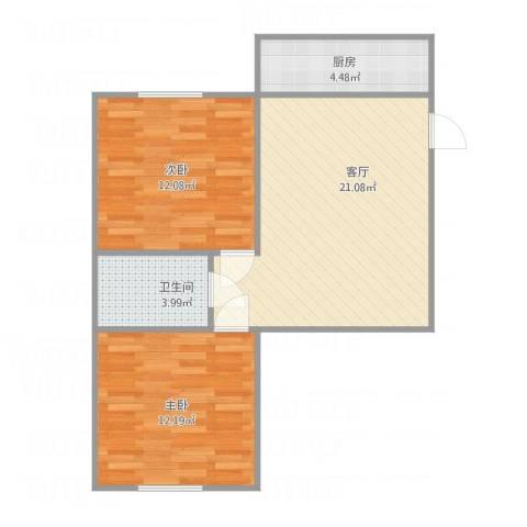 马栏北街2室1厅1卫1厨72.00㎡户型图